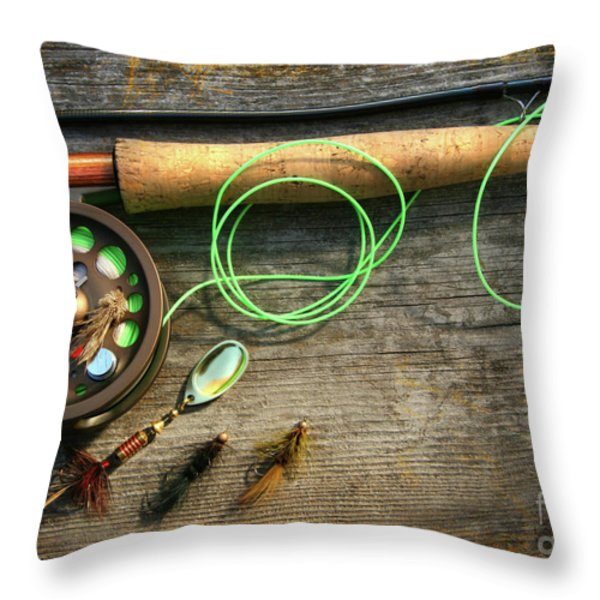 Fly fishing rod with polaroids pictures on wood Throw Pillow by Sandra Cunningham