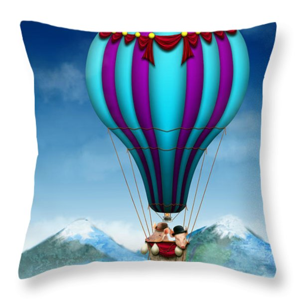 Flying Pig - Balloon - Up Up And Away Throw Pillow by Mike Savad