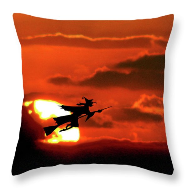 Flying Witch Halloween Card Throw Pillow by Adele Moscaritolo