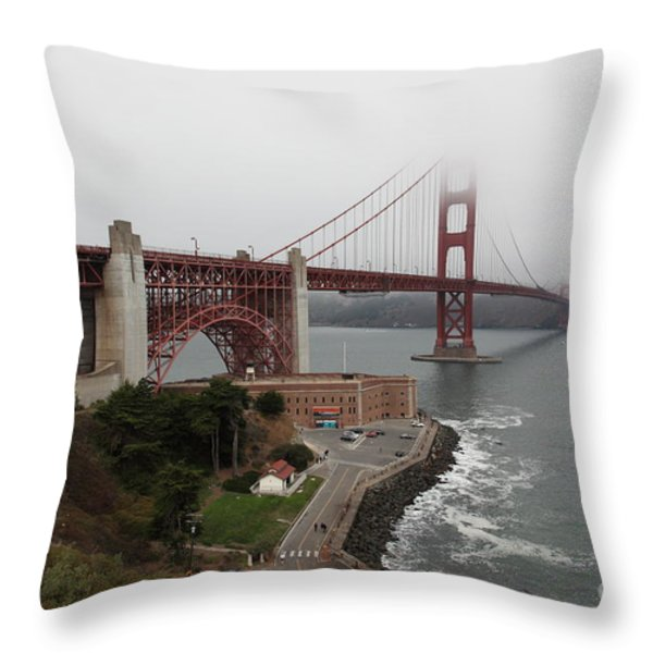 Fog At The San Francisco Golden Gate Bridge - 5d18868 Throw Pillow by Wingsdomain Art and Photography