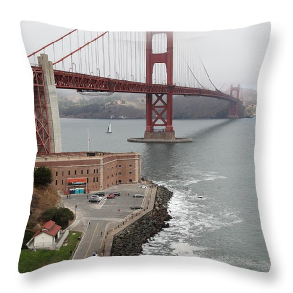 Fog At The San Francisco Golden Gate Bridge - 5D18872 Throw Pillow by Wingsdomain Art and Photography
