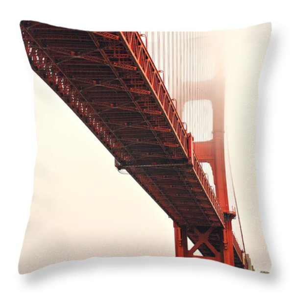 Fog Lifting At The Golden Gate Throw Pillow by Cheryl Young