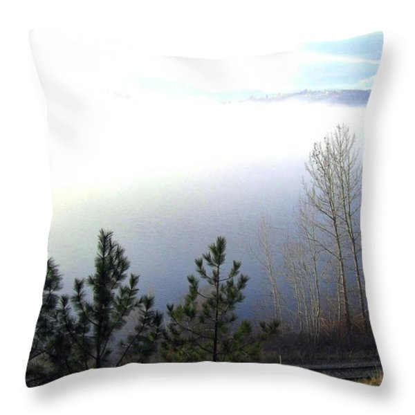Fog On Wood Lake Throw Pillow by Will Borden