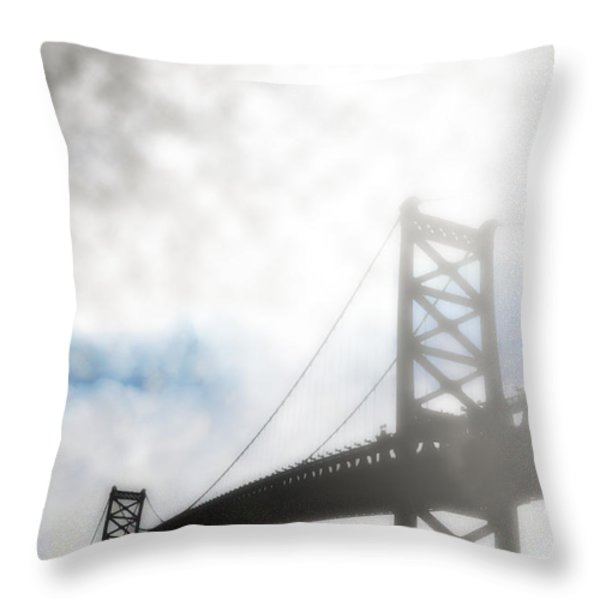 Foggy Ben Franklin Bridge - Philadelphia Throw Pillow by Bill Cannon