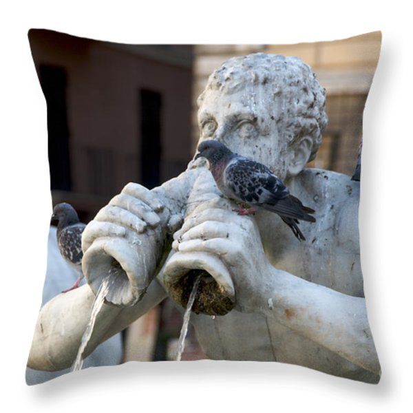 Fontana del Moro in Piazza Navona. Rome Throw Pillow by BERNARD JAUBERT