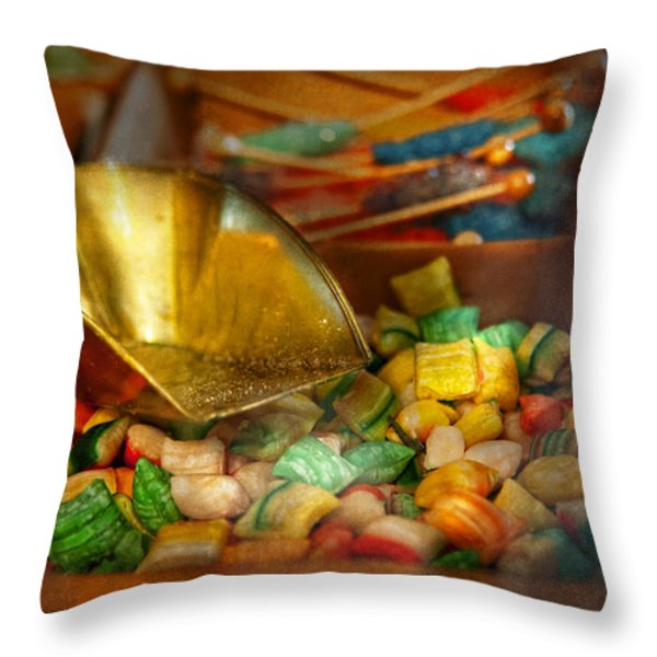 Food - Candy - One Scoop Of Candy Please  Throw Pillow by Mike Savad