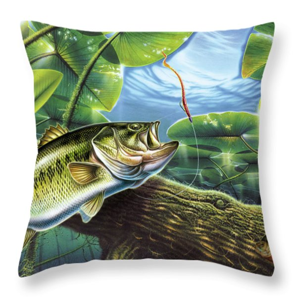 Fooled Again Bass II Throw Pillow by JQ Licensing