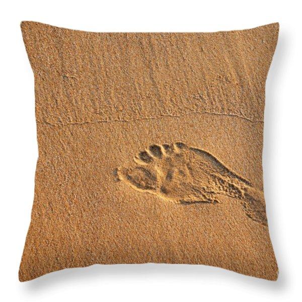 foot print Throw Pillow by Carlos Caetano