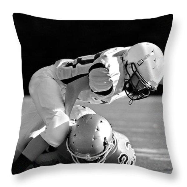 Football In Black And White Throw Pillow by Susan Leggett