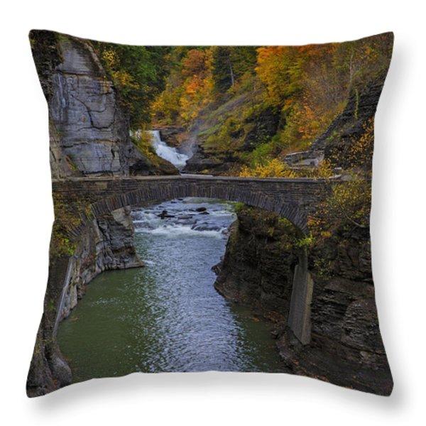 Footbridge at Lower Falls Throw Pillow by Rick Berk
