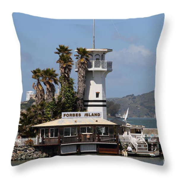 Forbes Island Restaurant With Alcatraz Island In The Background . San Francisco California . 7d14258 Throw Pillow by Wingsdomain Art and Photography