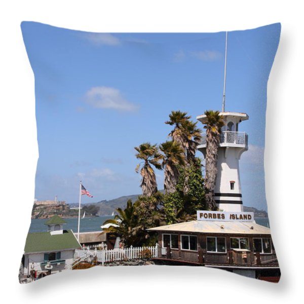 Forbes Island Restaurant With Alcatraz Island in The Background . San Francisco California . 7D14263 Throw Pillow by Wingsdomain Art and Photography