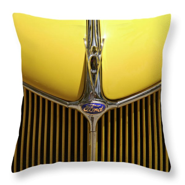 Ford V8 Throw Pillow by Mike McGlothlen