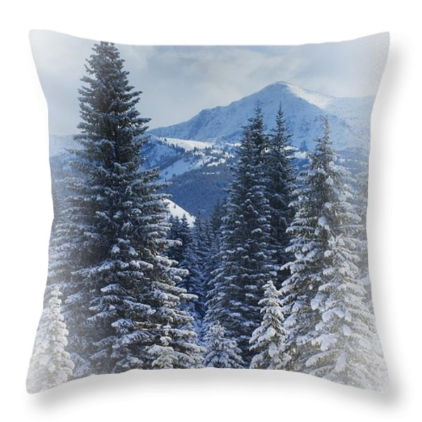 Forest In The Winter Throw Pillow by Carson Ganci