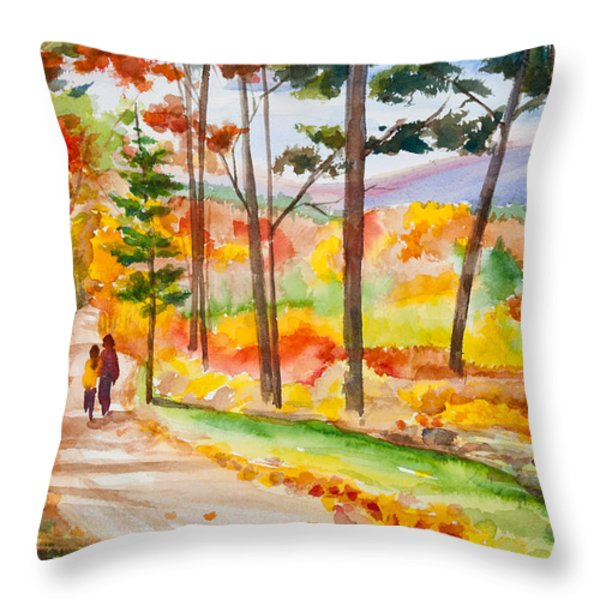 Forever Autumn Watercolor Painting Throw Pillow by Michelle Wiarda
