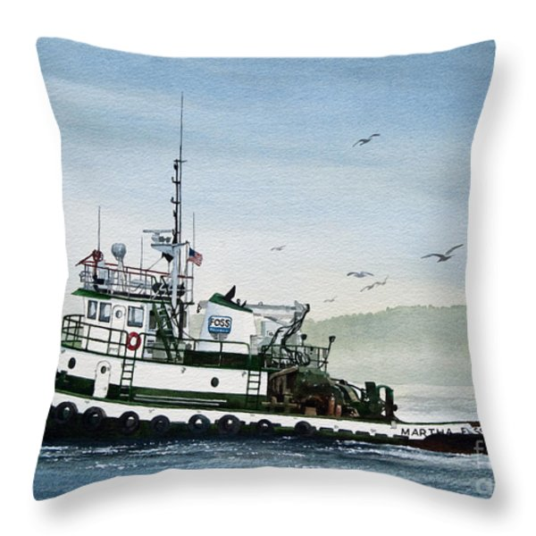 FOSS Tugboat MARTHA FOSS Throw Pillow by James Williamson