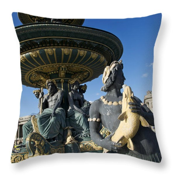Fountain At Place De La Concorde. Paris. France Throw Pillow by Bernard Jaubert