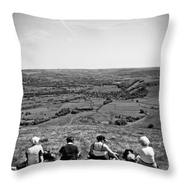 four ladies on a hill Throw Pillow by Meirion Matthias