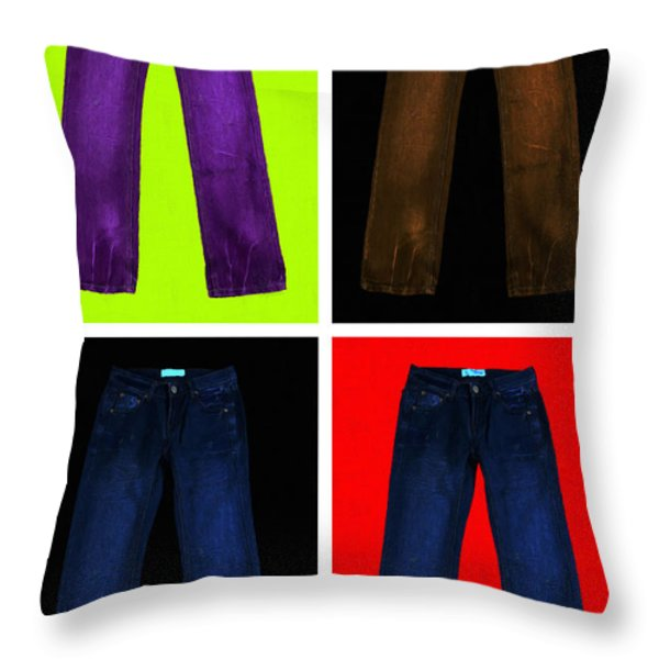 Four Pairs of Blue Jeans - Painterly Throw Pillow by Wingsdomain Art and Photography