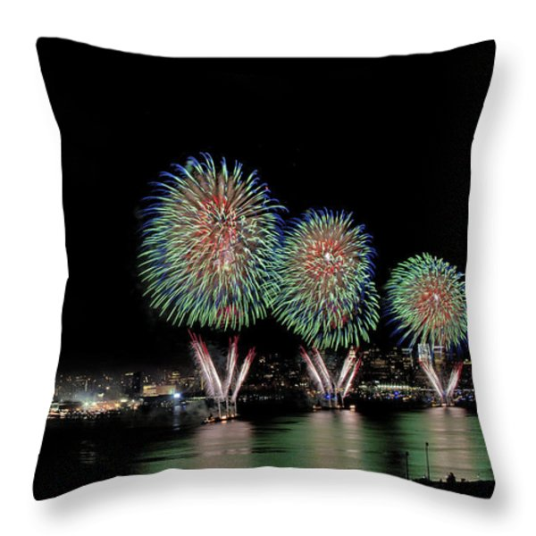 Fourt of July in NYC Throw Pillow by Susan Candelario