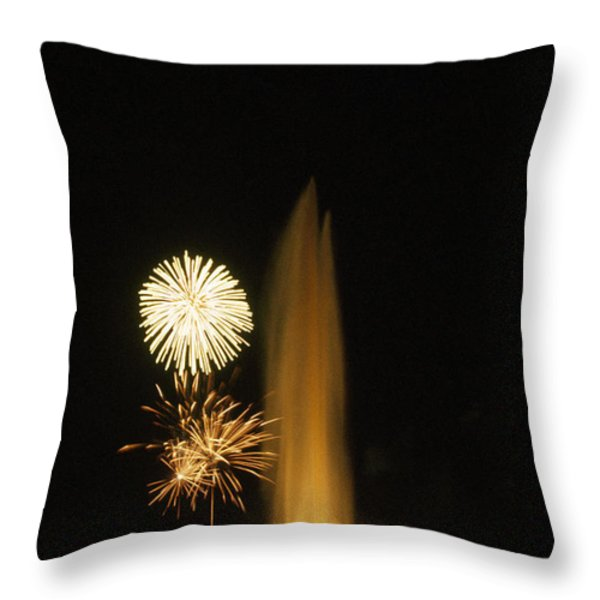 Fourth Of July Fireworks Throw Pillow by Lynn Johnson
