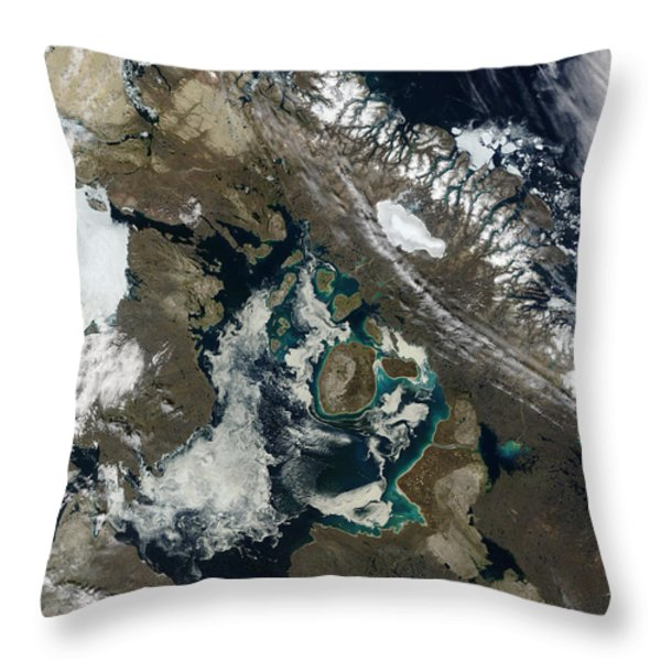 Foxe Basin, Northern Canada Throw Pillow by Stocktrek Images