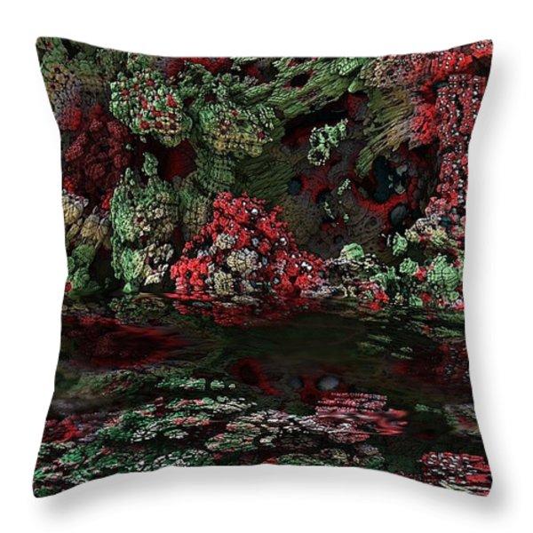 Fractal Alien Landscape Throw Pillow by David Lane