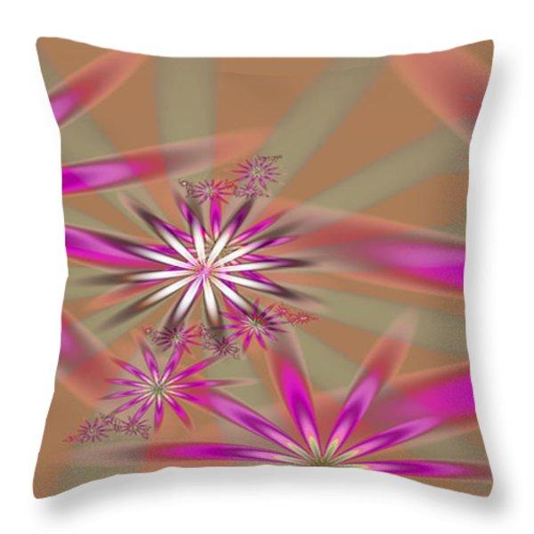 Fractal Flowers Throw Pillow by Gina Lee Manley
