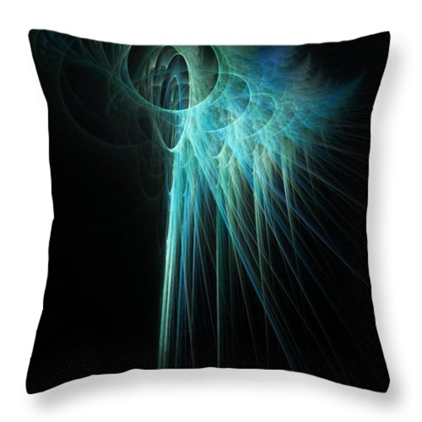 Fractal Rays Throw Pillow by John Edwards