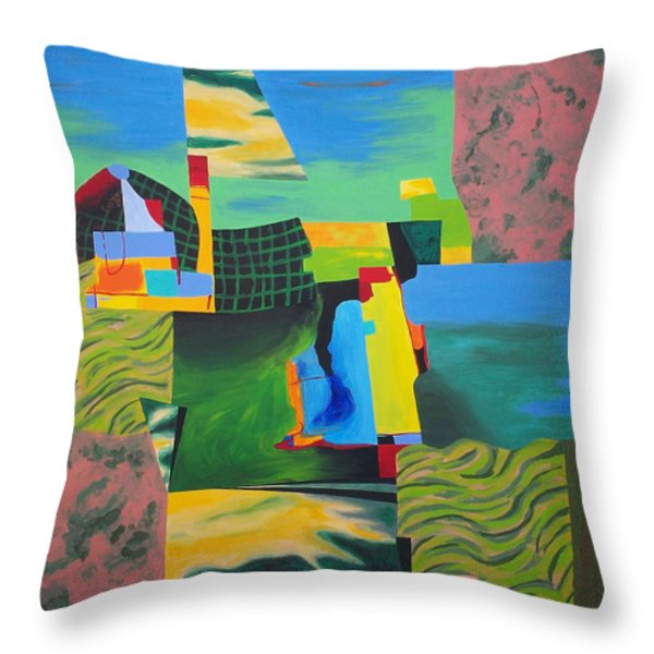 Fragments Number 8 Throw Pillow by Randall Weidner