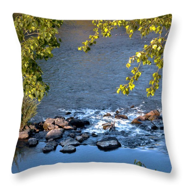 Framed Rapids Throw Pillow by Robert Bales
