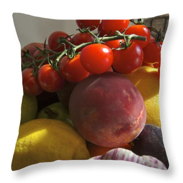 France, Paris Fruits And Vegetables Throw Pillow by Keenpress