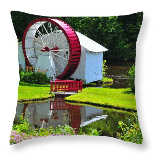 Franconia Notch Waterwheel Throw Pillow by Catherine Reusch  Daley