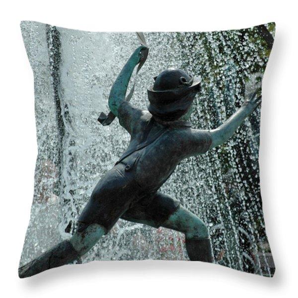 Frankenmuth Fountain Boy Throw Pillow by LeeAnn McLaneGoetz McLaneGoetzStudioLLCcom