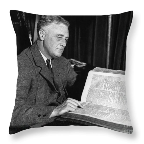 Franklin D. Roosevelt, 32nd American Throw Pillow by Photo Researchers
