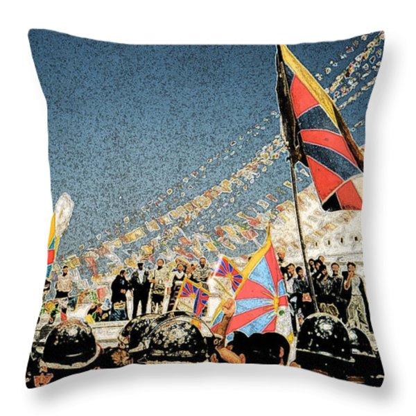 Free Tibet Throw Pillow by First Star Art