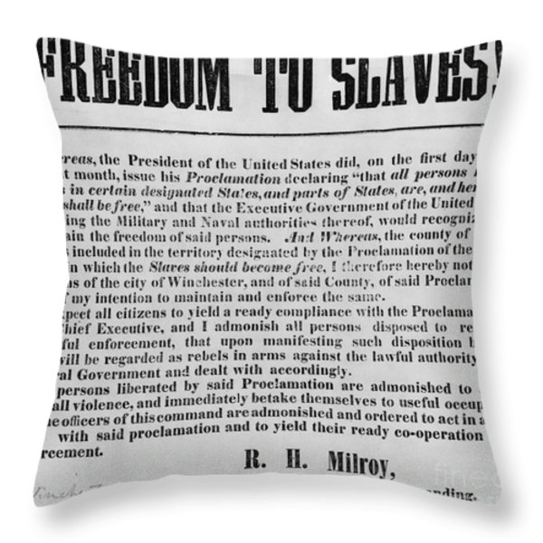 Freedom To Slaves Throw Pillow by Photo Researchers
