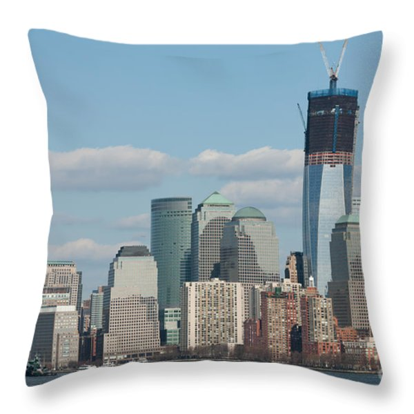 Freedom Tower And Manhattan Skyline II Throw Pillow by Clarence Holmes
