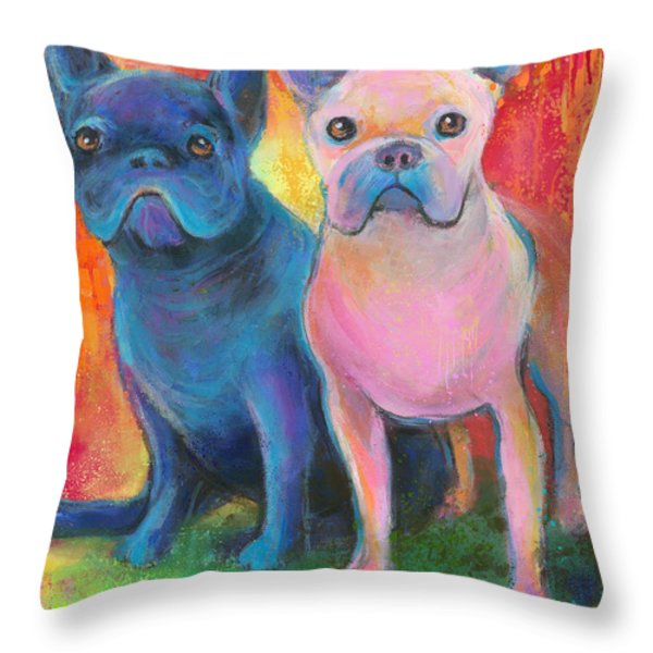 French Bulldog dogs white and black painting Throw Pillow by Svetlana Novikova