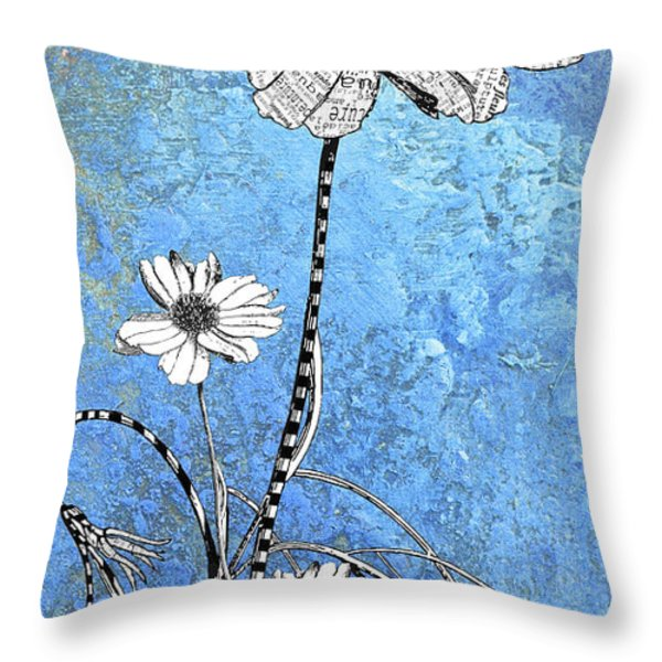 French Floral on Blue Abstract Throw Pillow by Anahi DeCanio