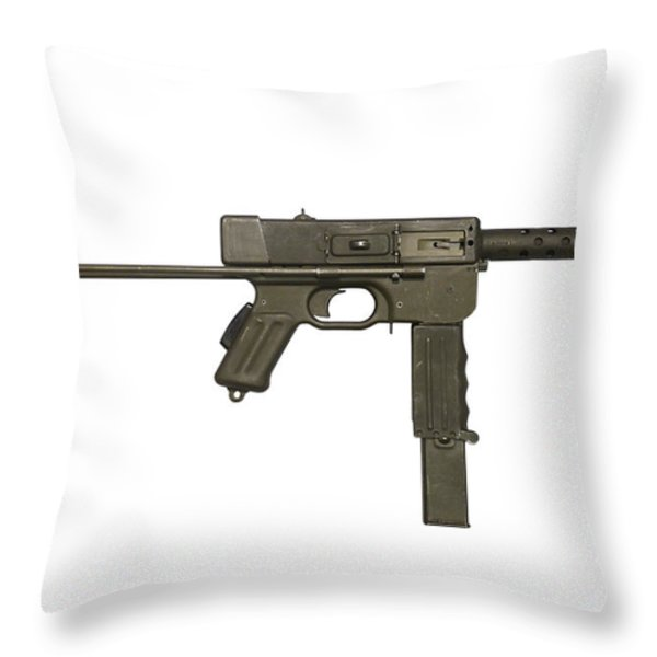 French Mat-49 Submachine Gun Throw Pillow by Andrew Chittock