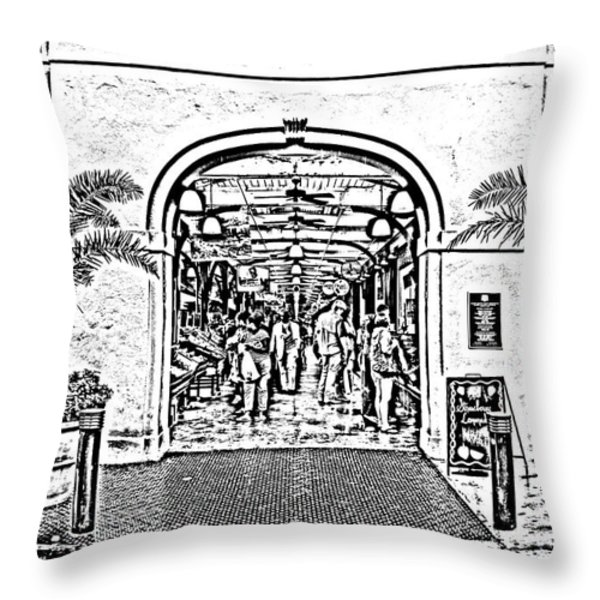 French Quarter French Market Entrance New Orleans Photocopy Digital Art Throw Pillow by Shawn O'Brien