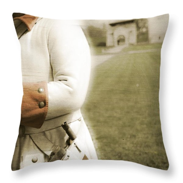 French Soldier Standing Guard Throw Pillow by Keith Allen