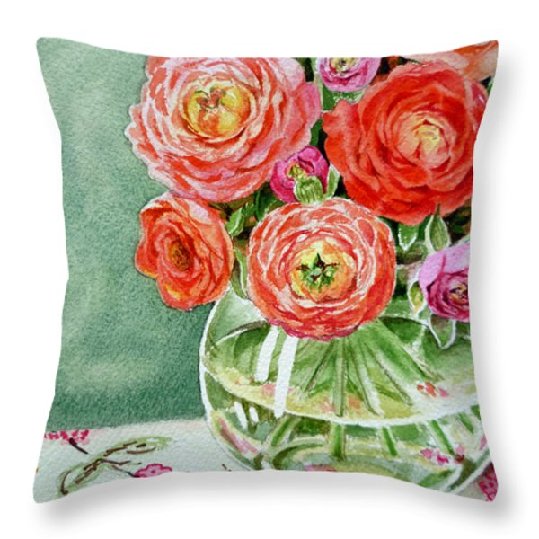Fresh Cut Flowers Throw Pillow by Irina Sztukowski