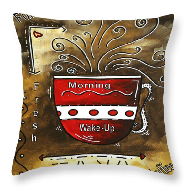 Fresh Java Original Painting Throw Pillow by Megan Duncanson