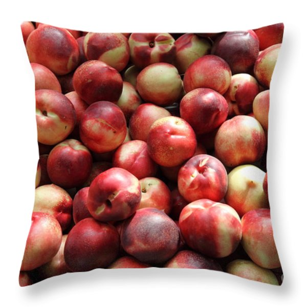 Fresh Nectarines - 5d17813 Throw Pillow by Wingsdomain Art and Photography