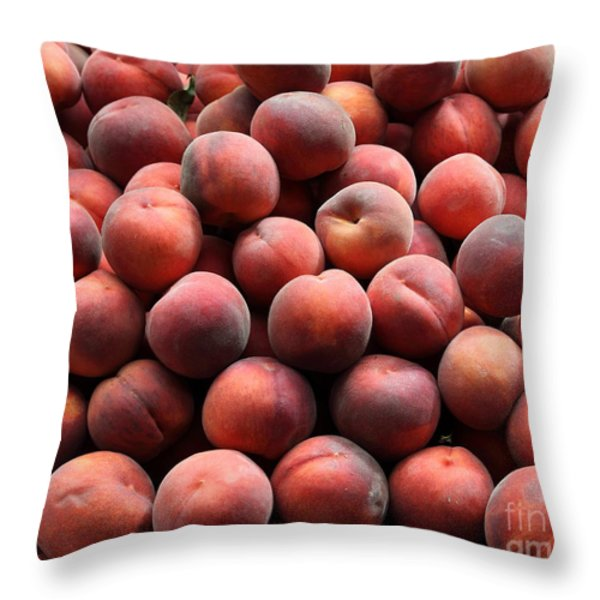Fresh Peaches - 5d17816 Throw Pillow by Wingsdomain Art and Photography