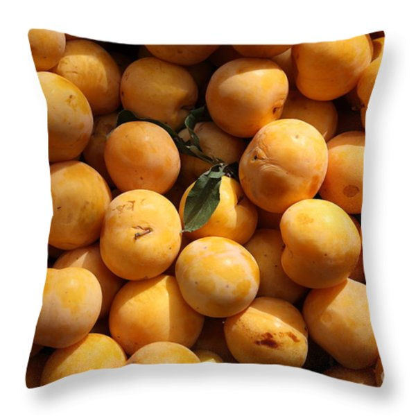 Fresh Yellow Plums - 5D17814 Throw Pillow by Wingsdomain Art and Photography