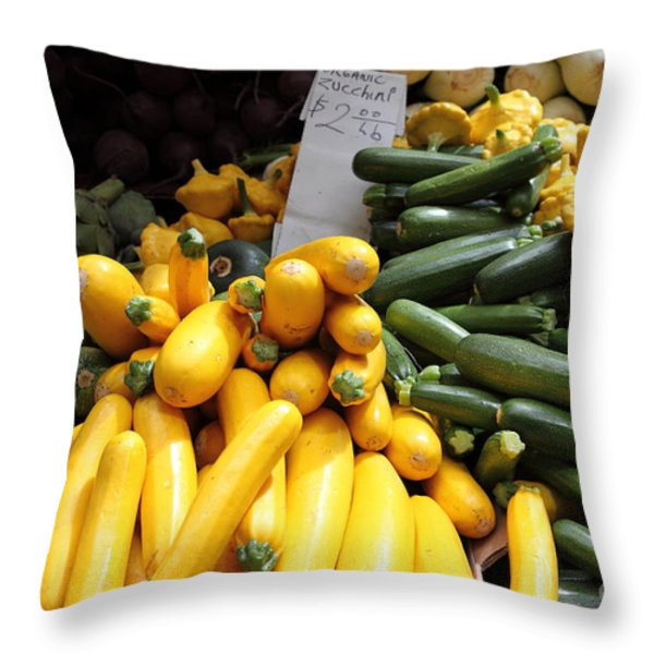 Fresh Zucchinis and Artichokes - 5D17817 Throw Pillow by Wingsdomain Art and Photography