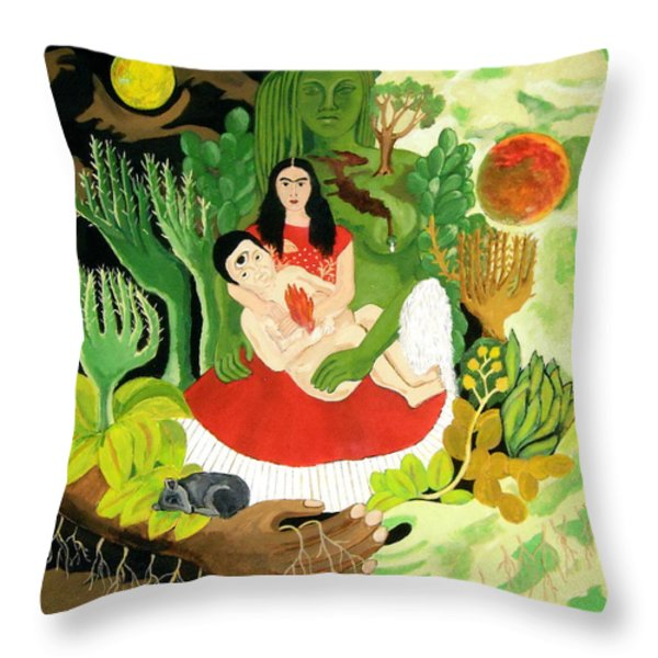 Frida And Diego Throw Pillow by Stephanie Moore